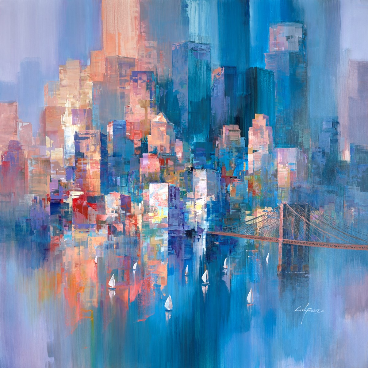City Sunset VI by wilfred -  sized 38x38 inches. Available from Whitewall Galleries